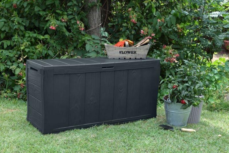 keter sherwood aufbewahrungsbox 270 l anthrazit 17199435. Black Bedroom Furniture Sets. Home Design Ideas