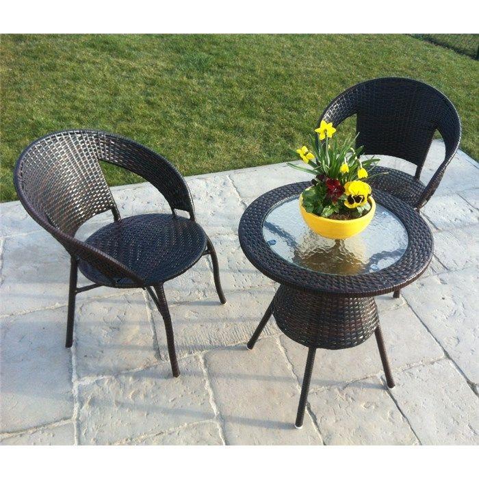 Gartenmöbel Set BISTRO 2+1 Rattanmöbel Braun
