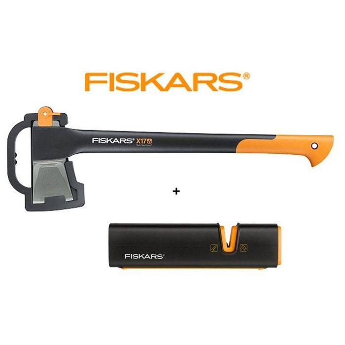 SET Fiskars Spaltaxt X17 + Xsharp Axt- und Messerschärfer ...