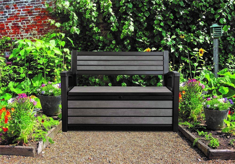 gartenbank keter hudson bench mit kissenbox grau anthrazit kunststoff. Black Bedroom Furniture Sets. Home Design Ideas