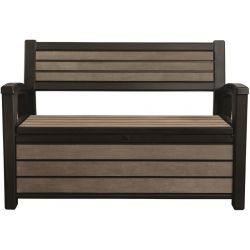 gartenbank keter hudson bench mit kissenbox grau anthrazit kunststoff. Black Bedroom Furniture Sets. Home Design Ideas